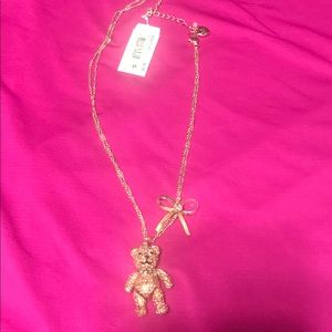 Betsy Johnson pink teddy bear necklace